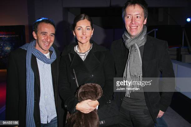 Elie Semoun Cristiana Reali and JeanLuc Lemoine attend the Toshiba 'Go to Space' party at Palais De Tokyo on December 14 2009 in Paris France