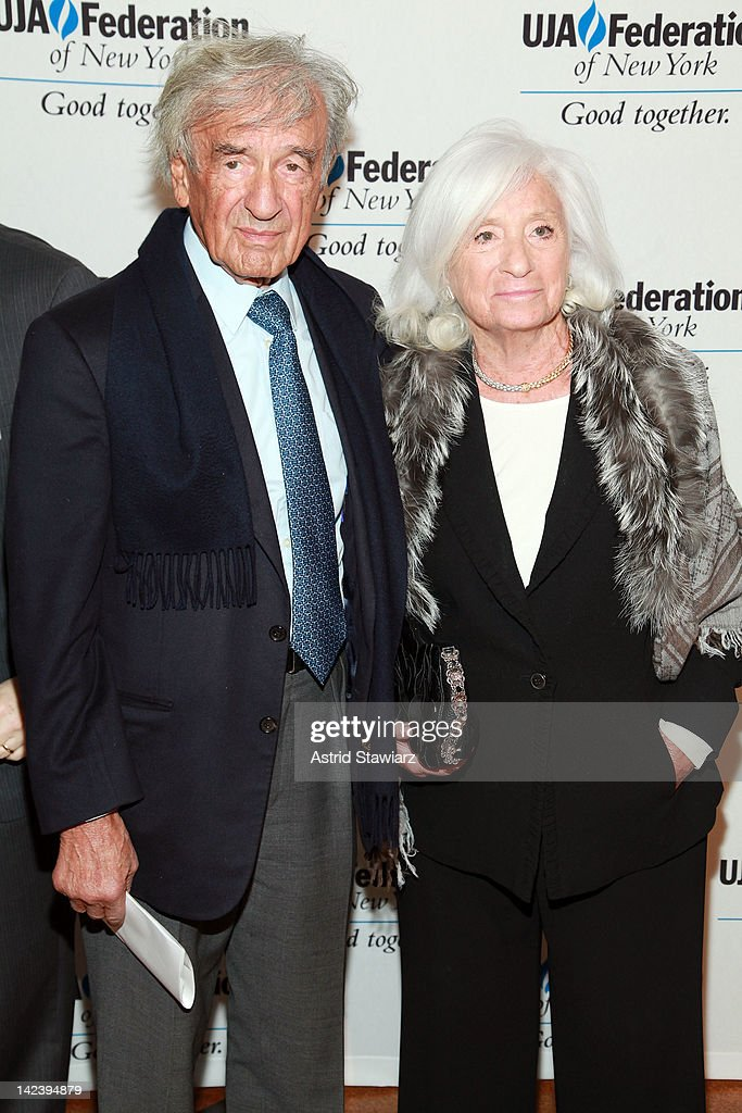 <a gi-track='captionPersonalityLinkClicked' href=/galleries/search?phrase=Elie+Wiesel&family=editorial&specificpeople=210800 ng-click='$event.stopPropagation()'>Elie Wiesel</a> and Marion Wiesel attend the 2012 UJA-Federation Of New York's Leadership Awards Dinner at 583 Park Avenue on April 3, 2012 in New York City.