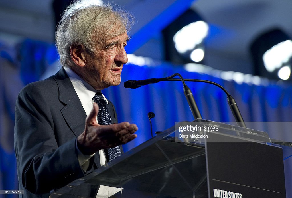 Elie Wiesel, founding chairman of the US Holocaust Memorial Museum, speaks at a ceremony for the museum's 20th anniversary in Washington, DC.