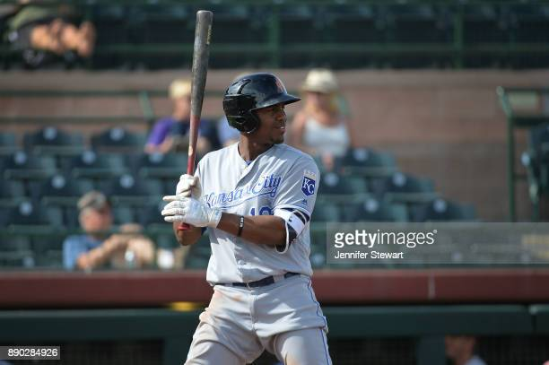 Elier Hernandez of Surprise Saguaros stands at bat in the Arizona Fall League game against the Scottsdale Scorpions at Scottsdale Stadium on November...