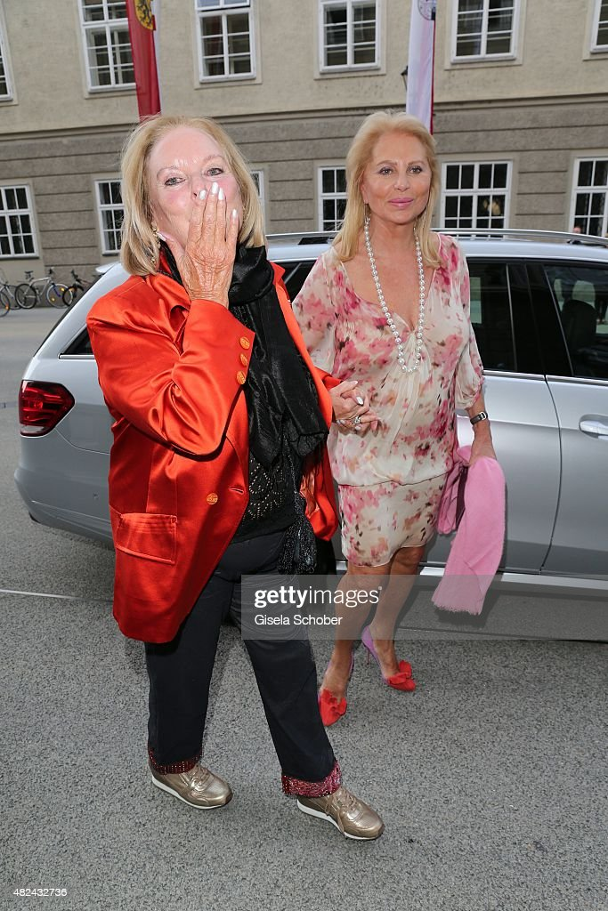 Eliette von Karajan and Eva O'Neill attend the 40 year stage anniversary of Placido Domingo during the Salzburg Festival on July 30 2015 in Salzburg...