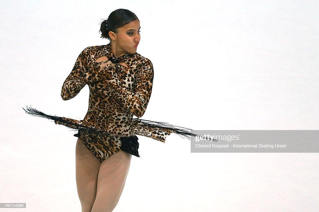 Elif Erdem of Turkey skates during the junior ladies free skating of the ISU Junior Grand Prix at Dom Sportova on October 10 2015 in Zagreb Croatia
