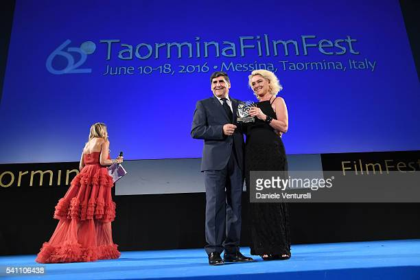 Eligio Giardina and Monica Guerritore attend Baume Mercier Closing Night 62 Taormina Film Fest on June 18 2016 in Taormina Italy