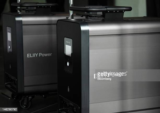 Eliiy Power Co Power Yiile Plus lithiumion battery storage systems are displayed at the company's plant in Kawasaki City Kanagawa Prefecture Japan on...