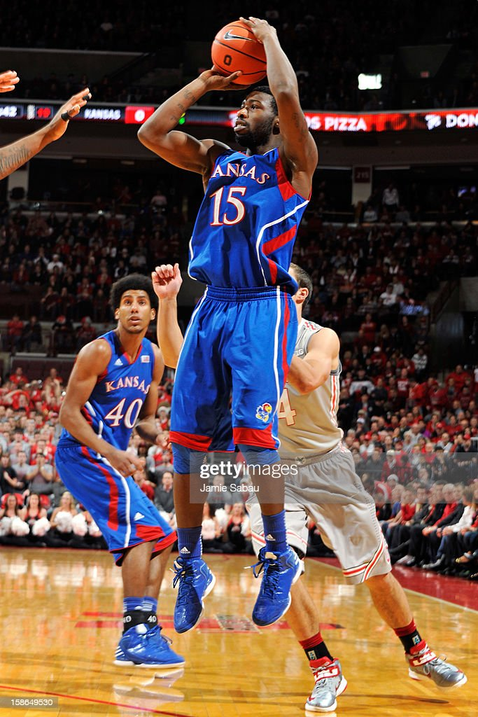 Elijah Johnson #15 of the Kansas Jayhawks puts up a shot in the first half against the Ohio State Buckeyes on December 22, 2012 at Value City Arena in Columbus, Ohio.