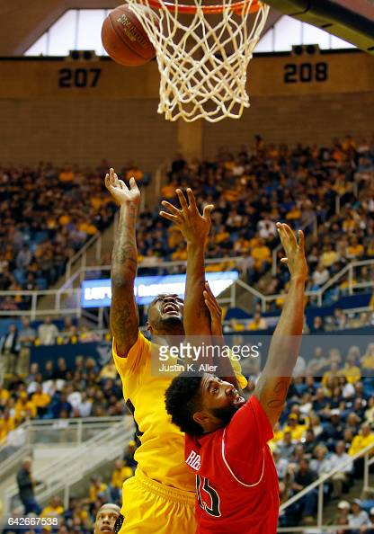 Elijah Macon of the West Virginia Mountaineers attempts a lay up against the Texas Tech Red Raiders at the WVU Coliseum on February 18 2017 in...