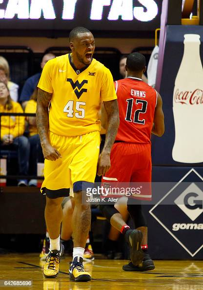 Elijah Macon of the West Virginia Mountaineers celebrates after a basket against the Texas Tech Red Raiders at the WVU Coliseum on February 18 2017...