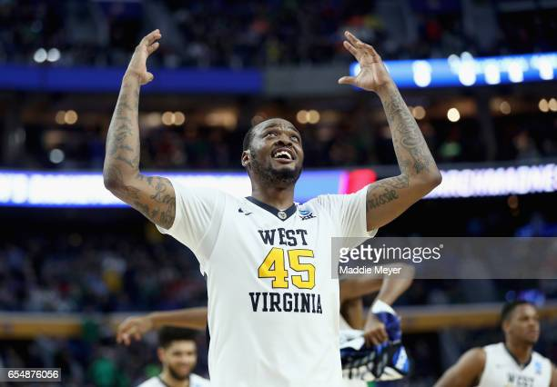 Elijah Macon of the West Virginia Mountaineers reacts after defeating the Notre Dame Fighting Irish 8371 during the second round of the 2017 NCAA...