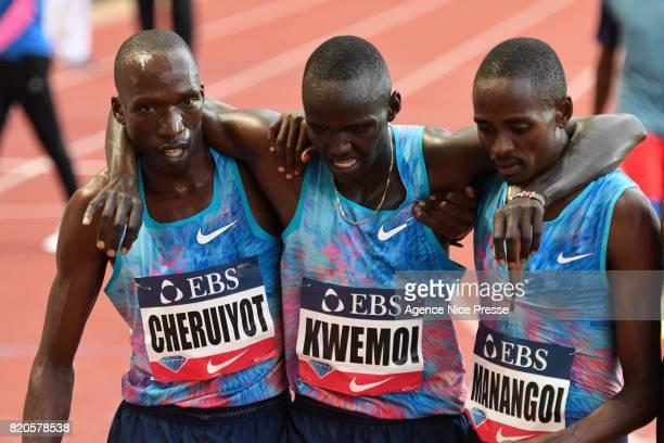 Elijah Manangoi Timothy Cheruiyot and Ronald Kwemoi of Kenya Men's 1500 m during the IAAF Diamond League Meeting Herculis on July 21 2017 in Monaco...