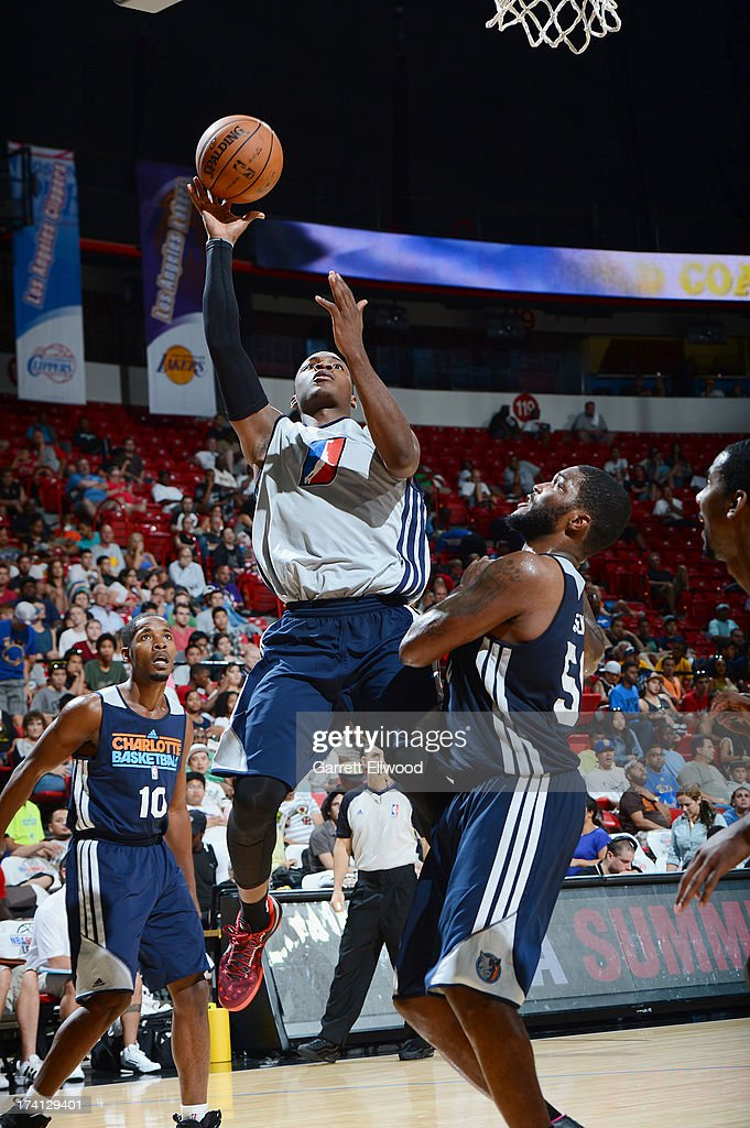 Elijah  Millsap #7 of the D-League Select Team goes to the basket during NBA Summer League game between the Charlotte Bobcats and the D-League Select Team on July 20, 2013 at the Cox Pavilion in Las Vegas, Nevada.