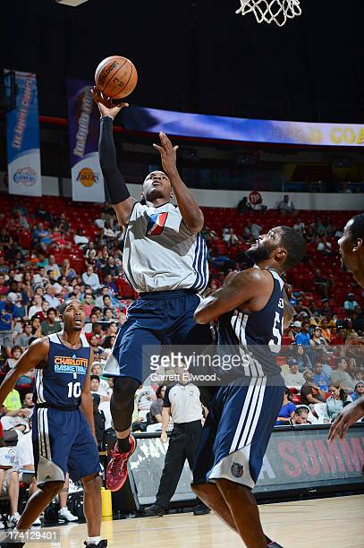 Elijah Millsap of the DLeague Select Team goes to the basket during NBA Summer League game between the Charlotte Bobcats and the DLeague Select Team...