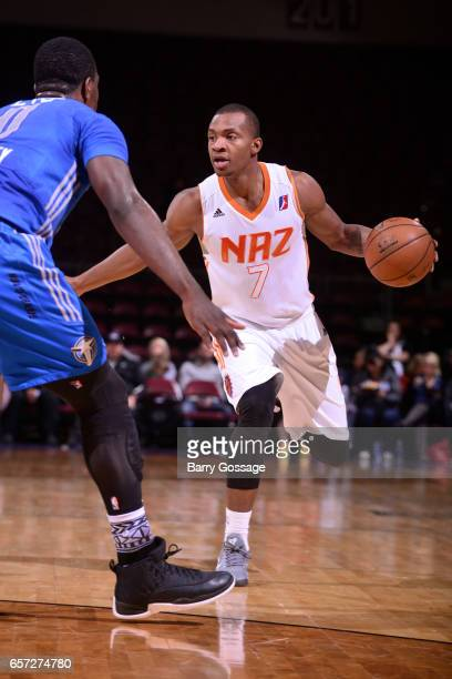 Elijah Millsap of the Northern Arizona Suns dribbles the ball against the Texas Legends on March 23 2017 at Prescott Valley Event Center in Prescott...