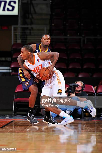 Elijah Millsap of the Northern Arizona Suns handles the ball against the Salt Lake City Stars on November 19 at Precott Valley Event Center in...