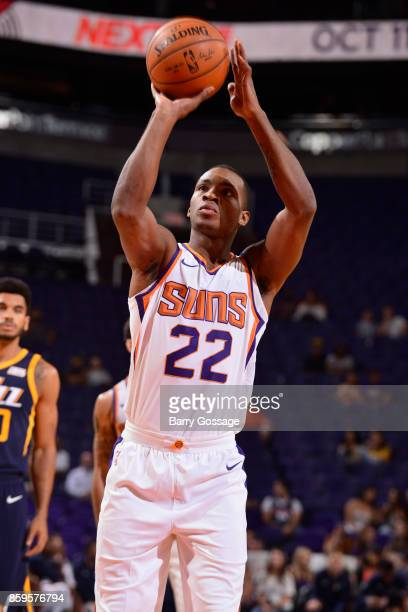Elijah Millsap of the Phoenix Suns shoots the ball against the Utah Jazz on October 9 2017 at Talking Stick Resort Arena in Phoenix Arizona NOTE TO...