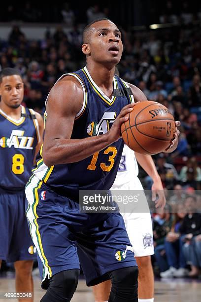 Elijah Millsap of the Utah Jazz attempts a free throw shot against the Sacramento Kings on April 5 2015 at Sleep Train Arena in Sacramento California...