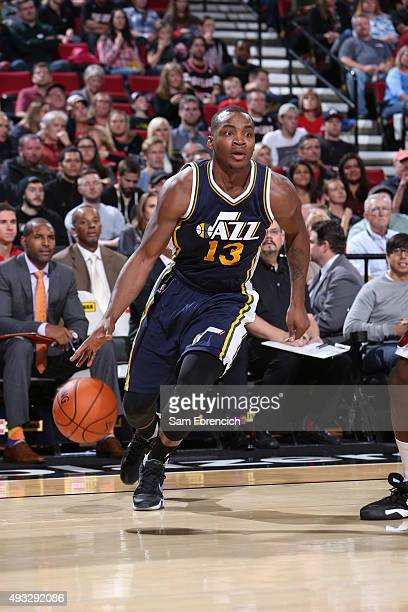 Elijah Millsap of the Utah Jazz brings the ball up court against the Portland Trail Blazers on October 18 2015 at the Moda Center in Portland Oregon...