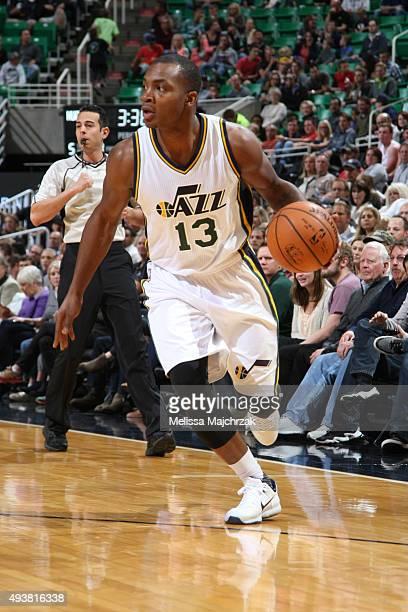 Elijah Millsap of the Utah Jazz dribbles the ball against the Denver Nuggets on October 22 2015 at EnergySolutions Arena in Salt Lake City Utah NOTE...