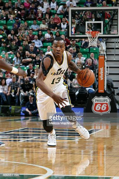 Elijah Millsap of the Utah Jazz drives against the Charlotte Hornets on March 16 2015 at EnergySolutions Arena in Salt Lake City Utah NOTE TO USER...