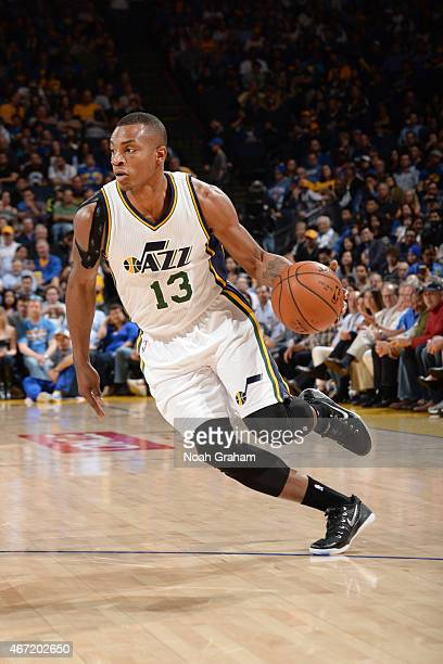 Elijah Millsap of the Utah Jazz drives to the basket against the Golden State Warriors during the game on March 21 2015 at ORACLE Arena in Oakland...
