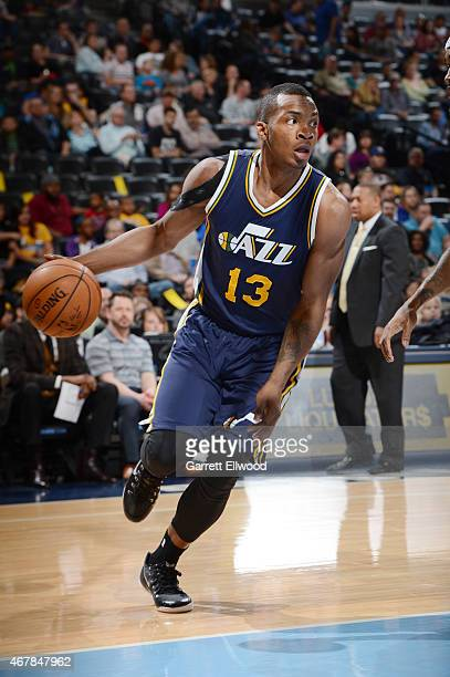 Elijah Millsap of the Utah Jazz drives to the basket against the Denver Nuggets during the game on March 27 2015 at Pepsi Center in Denver Colorado...