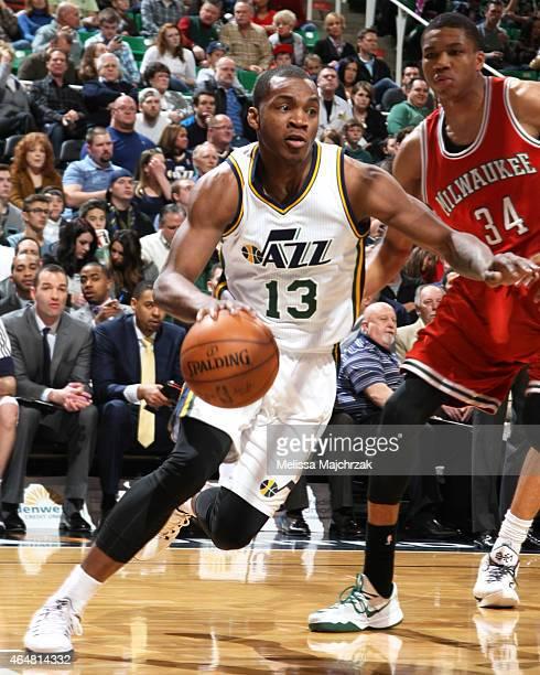 Elijah Millsap of the Utah Jazz handles the ball against the Milwaukee Bucks at EnergySolutions Arena on February 28 2015 in Salt Lake City Utah NOTE...