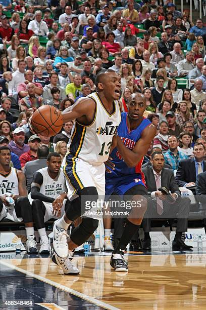 Elijah Millsap of the Utah Jazz handles the ball against the Detroit Pistons on March 14 2015 at EnergySolutions Arena in Salt Lake City Utah NOTE TO...