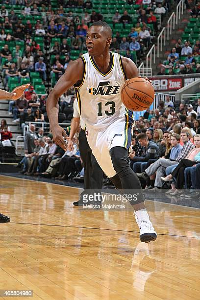 Elijah Millsap of the Utah Jazz handles the ball against the New York Knicks on March 10 2015 at EnergySolutions Arena in Salt Lake City Utah NOTE TO...