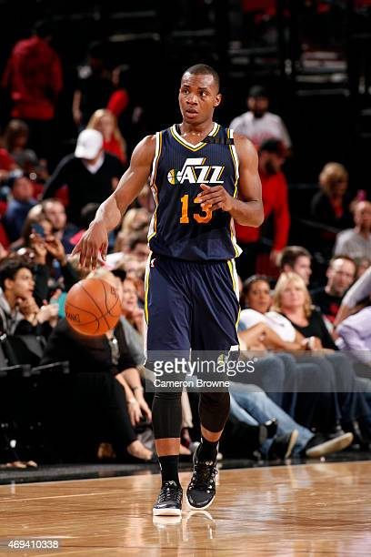 Elijah Millsap of the Utah Jazz handles the ball against the Portland Trail Blazers on April 11 2015 at the Moda Center Arena in Portland Oregon NOTE...
