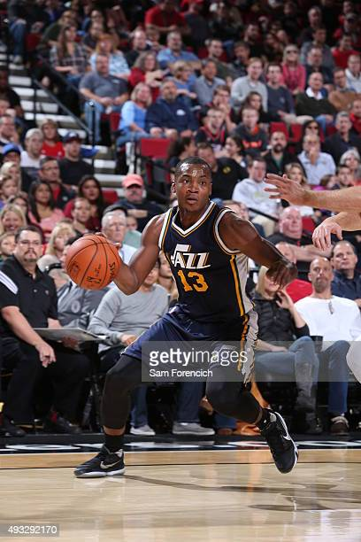 Elijah Millsap of the Utah Jazz handles the ball against the Portland Trail Blazers on October 18 2015 at the Moda Center in Portland Oregon NOTE TO...