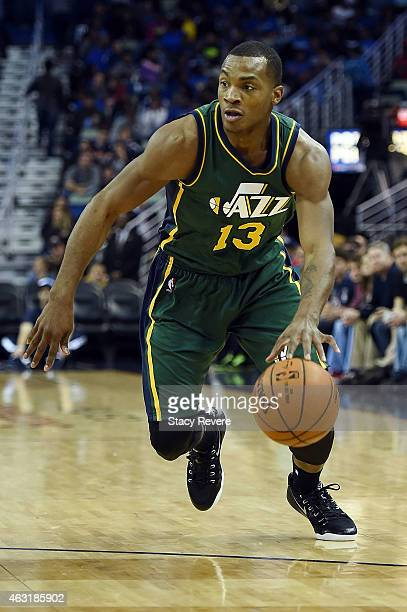 Elijah Millsap of the Utah Jazz handles the ball during the second half of a game against the New Orleans Pelicans at the Smoothie King Center on...