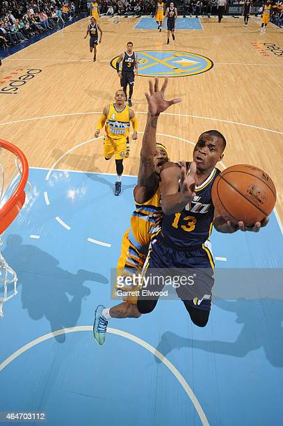 Elijah Millsap of the Utah Jazz shoots against the Denver Nuggets on February 27 2015 at the Pepsi Center in Denver Colorado NOTE TO USER User...