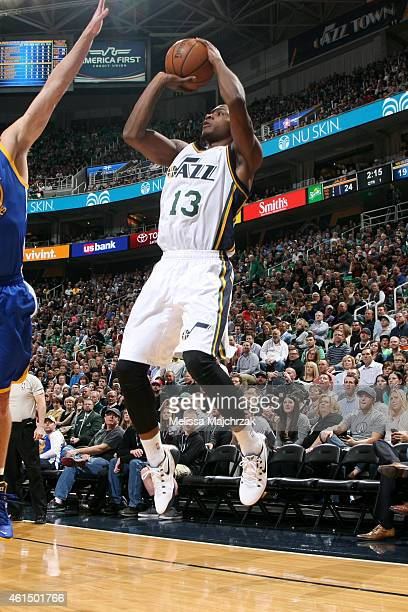 Elijah Millsap of the Utah Jazz shoots against the Golden State Warriors at EnergySolutions Arena on January 13 2015 in Salt Lake City Utah NOTE TO...