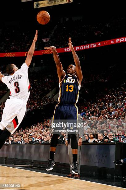 Elijah Millsap of the Utah Jazz shoots against the Portland Trail Blazers on April 11 2015 at the Moda Center Arena in Portland Oregon NOTE TO USER...