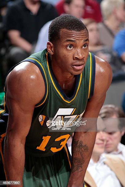 Elijah Millsap of the Utah Jazz stands on the court during a game against the Dallas Mavericks on February 11 2015 at the American Airlines Center in...
