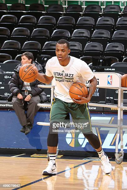Elijah Millsap of the Utah Jazz warms up before the game against the New Orleans Pelicans on November 28 2015 at Vivint Smart Home Arena in Salt Lake...