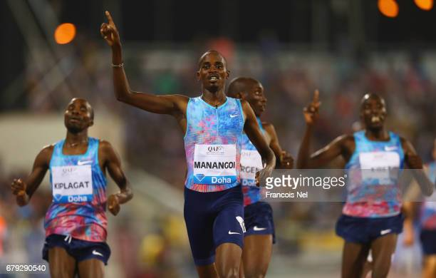 Elijah Motonei Managoi of Kenya celebrates as he crosses the line to win the 1500 metres during the Doha IAAF Diamond League 2017 at the Qatar Sports...