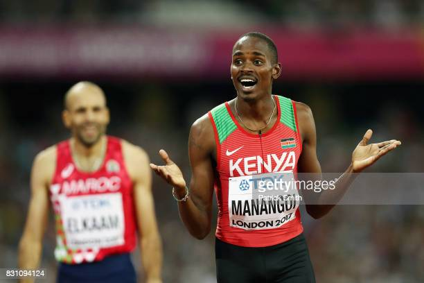 Elijah Motonei Manangoi of Kenya crosses the finish line to win gold in the Men's 1500 metres final during day ten of the 16th IAAF World Athletics...