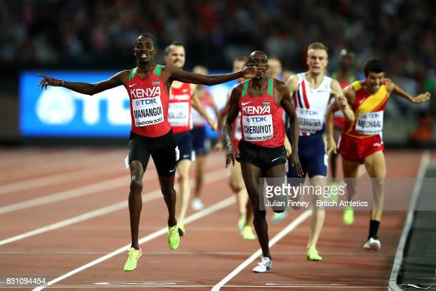 Elijah Motonei Manangoi of Kenya reacts as he crosses the finish line to win gold in the Men's 1500 metres final during day ten of the 16th IAAF...