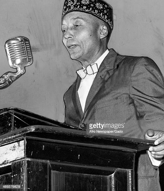 Elijah Muhammad the leader of the Nation of Islam group making his first Newark appearance at the Mosque Theatre Newark New Jersey September 7 1959