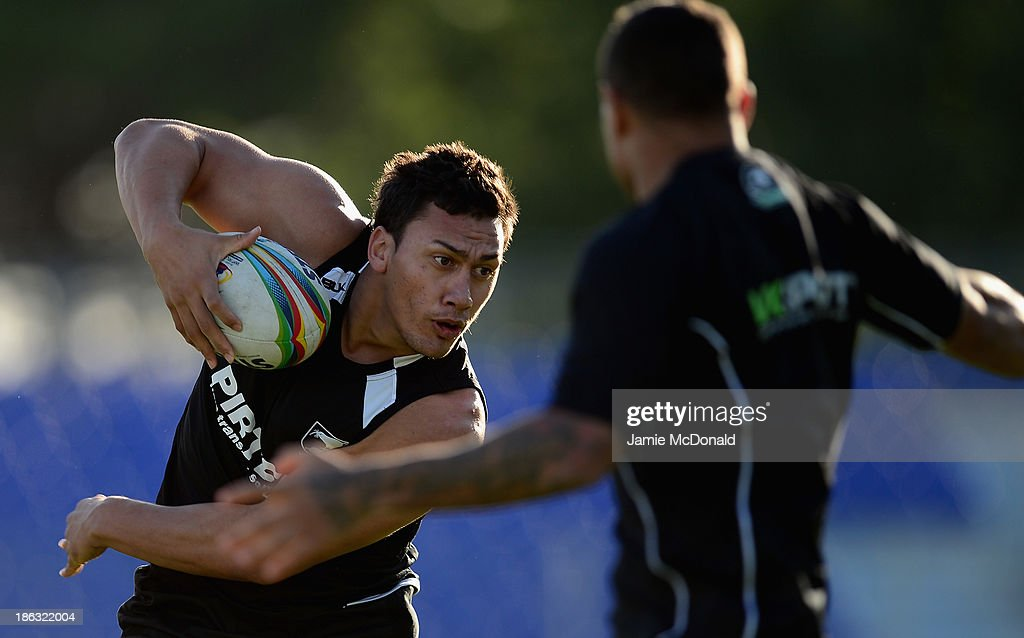 Elijah Taylor of New Zealand carries the ball during a New Zealand training session at the Parc des Sports Stadium on October 30, 2013 in Avignon, France.
