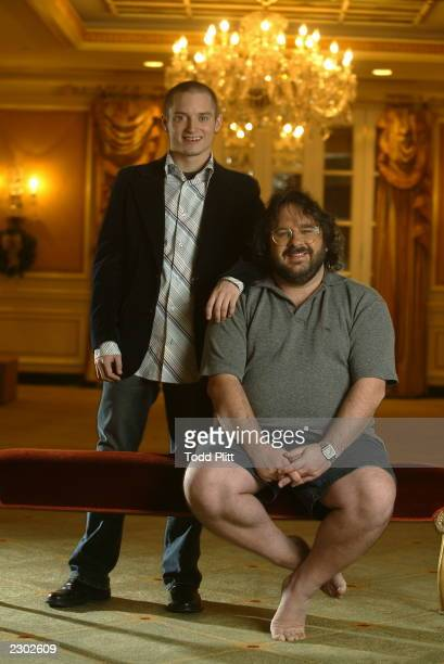 Elijah Wood and Director Peter Jackson are photographed in New York City on December 2 2002 during a press event for The Lord of The Rings The Two...