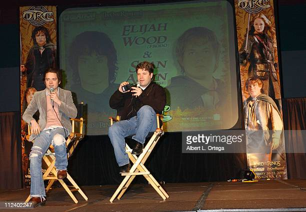 Elijah Wood and Sean Astin during Creation Entertainment Presents 'The One Ring Celebration' Day One at Pasadena Civic Auditorium in Pasadena...