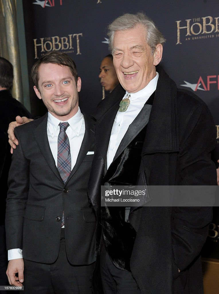 <a gi-track='captionPersonalityLinkClicked' href=/galleries/search?phrase=Elijah+Wood&family=editorial&specificpeople=171364 ng-click='$event.stopPropagation()'>Elijah Wood</a> (L) and Sir <a gi-track='captionPersonalityLinkClicked' href=/galleries/search?phrase=Ian+McKellen&family=editorial&specificpeople=202983 ng-click='$event.stopPropagation()'>Ian McKellen</a> attend 'The Hobbit: An Unexpected Journey' New York premiere benefiting AFI at Ziegfeld Theater on December 6, 2012 in New York City.