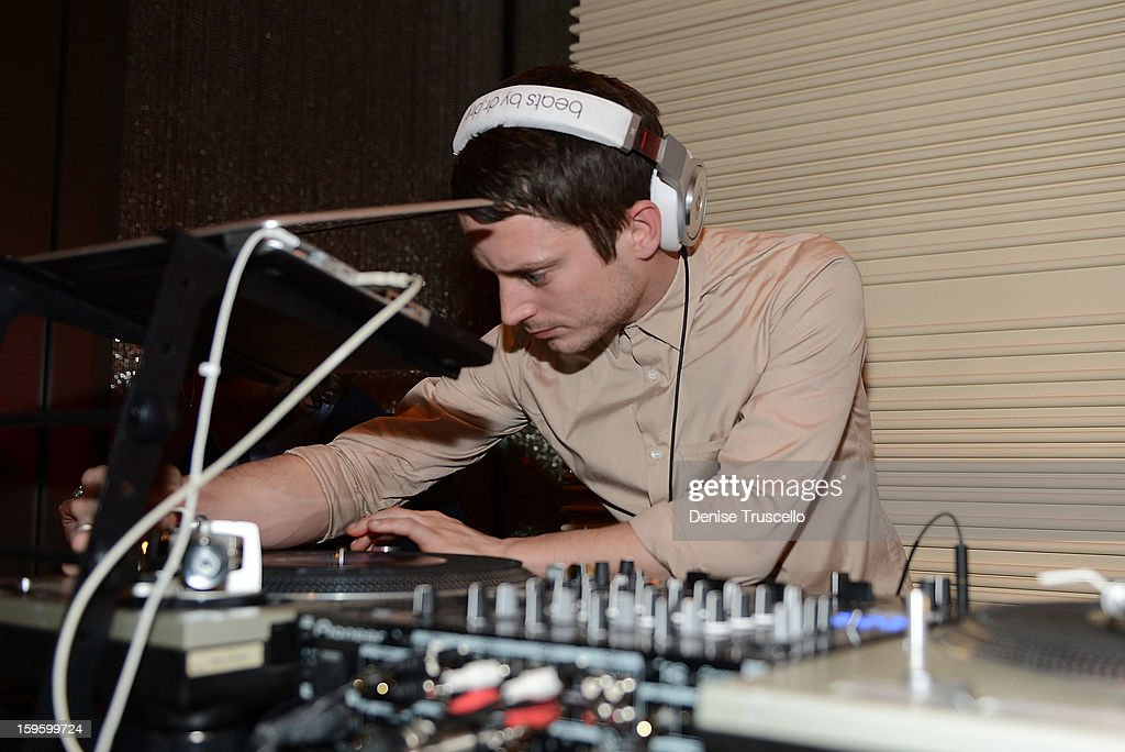 Elijah Wood dj's during the grand opening of Andrea's at Wynn Las Vegas on January 16, 2013 in Las Vegas, Nevada.