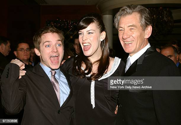 Elijah Wood Liv Tyler and Ian McKellen whoop it up at the prescreening party for the movie 'The Lord of the Rings' at the Royal Righa Hotel They star...