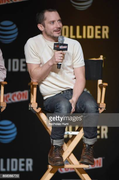 Elijah Wood speaks onstage during the Dirk Gently's Holistic Detective Agency BBC AMERICA Official Panel during 2017 New York Comic Con on October 6...