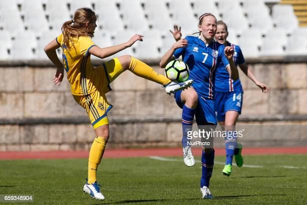 Elin Nilsson of Sweden and Hln Eirksdttir of Iceland during the UEFA U17 Women's Championship Qualifier match between Iceland and Sweden at National...
