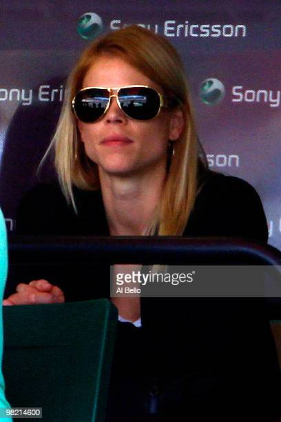 Elin Nordegren wife Tiger Woods watches as Rafael Nadal of Spain takes on Andy Roddick of the United States during day eleven of the 2010 Sony...