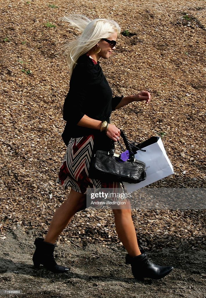 Elin Woods wife of Tiger Woods leaves the racecourse after attending the Ryder Cup Wives Race Day at The Curragh racecourse on September 19 2006 in...