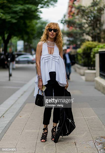 Elina Halimi outside Dior during Paris Fashion Week Haute Couture F/W 2016/2017 on July 4 2016 in Paris France